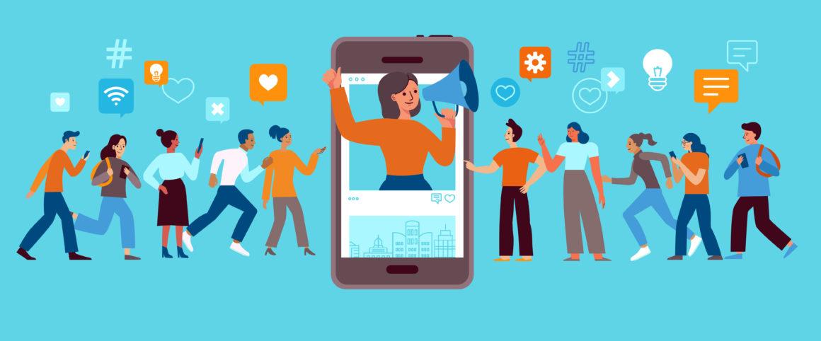 Web Agency illustrazione in flat design con personaggi